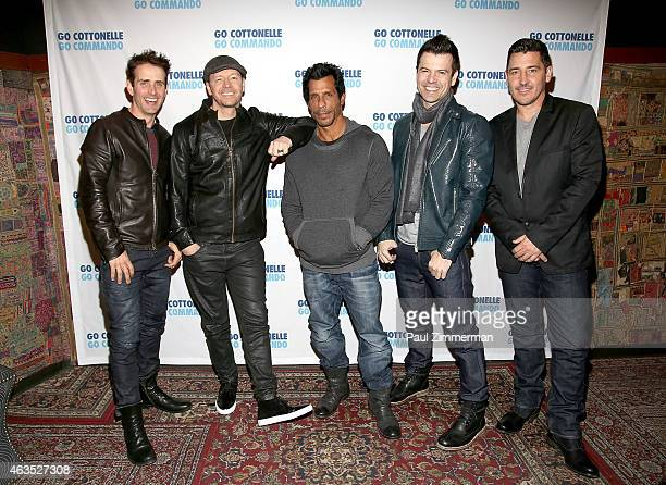 Joey McIntyre Donnie Wahlberg Jordan Knight Danny Wood and Jonathan Knight of the band New Kids On The Block concert at Gramercy Theatre on February...