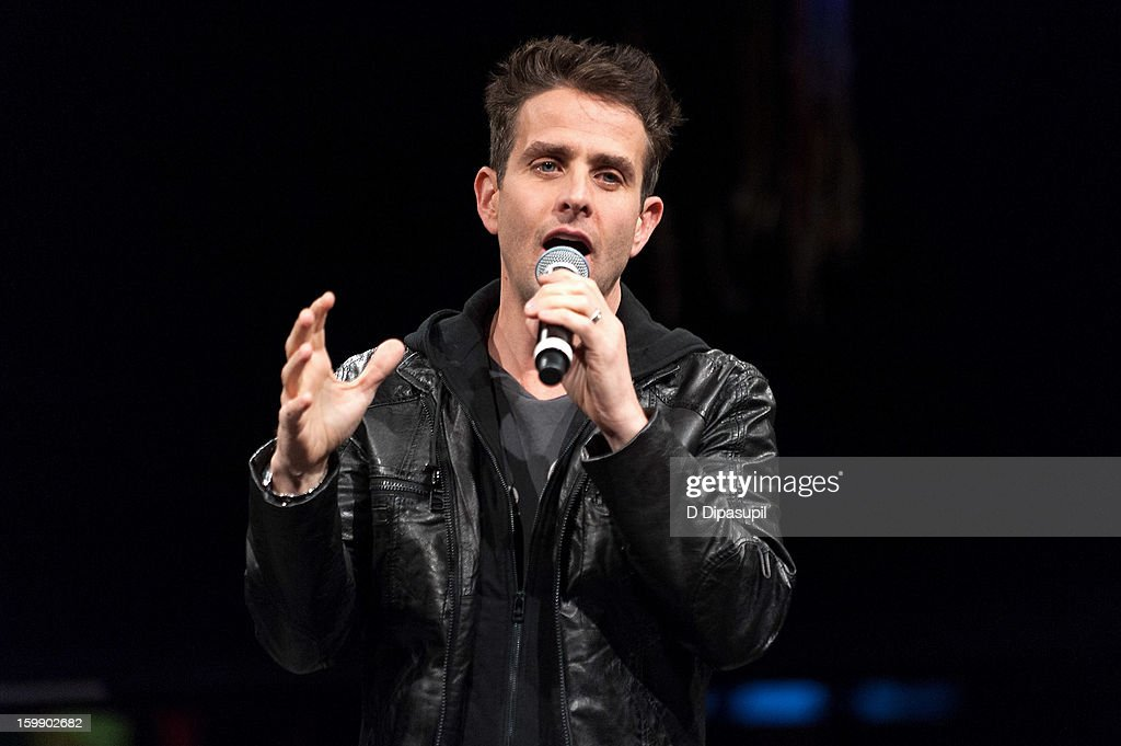 Joey McIntyre of New Kids on the Block performs during the Package Tour Special Announcement at Irving Plaza on January 22, 2013 in New York City.