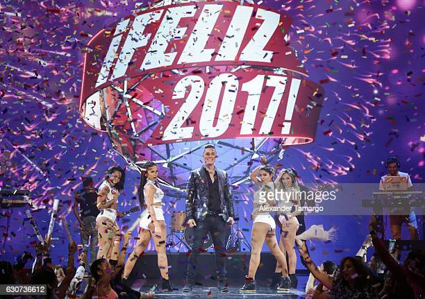 Joey Montana is seen performing during Univision's New Year's Eve Celebration Feliz 2017 at Univision Studios on December 31 2016 in Miami Florida