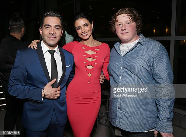 Joey Morgan Aislinn Derbez and Omar Chaparro attend Pantelion's 'Compadres' US Premiere on April 19 2016 in Los Angeles California