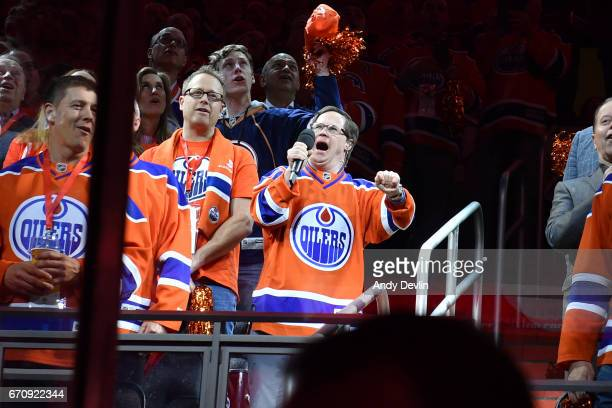 Joey Moss of the Edmonton Oilers sings the national anthem prior to Game Five of the Western Conference First Round during the 2017 NHL Stanley Cup...