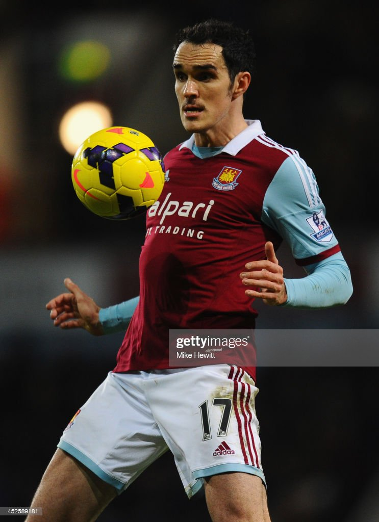 <a gi-track='captionPersonalityLinkClicked' href=/galleries/search?phrase=Joey+O%27Brien&family=editorial&specificpeople=639207 ng-click='$event.stopPropagation()'>Joey O'Brien</a> of West Ham in action during the Barclays Premier League match between West Ham United and Chelsea at Boleyn Ground on November 23, 2013 in London, England.