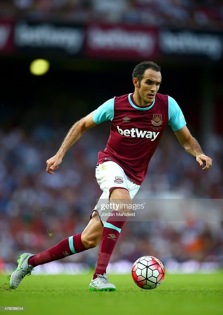 <a gi-track='captionPersonalityLinkClicked' href=/galleries/search?phrase=Joey+O%27Brien&family=editorial&specificpeople=639207 ng-click='$event.stopPropagation()'>Joey O'Brien</a> of West Ham in action during the UEFA Europa League match between West Ham United and FC Lusitans at Boleyn Ground on July 2, 2015 in London, England.