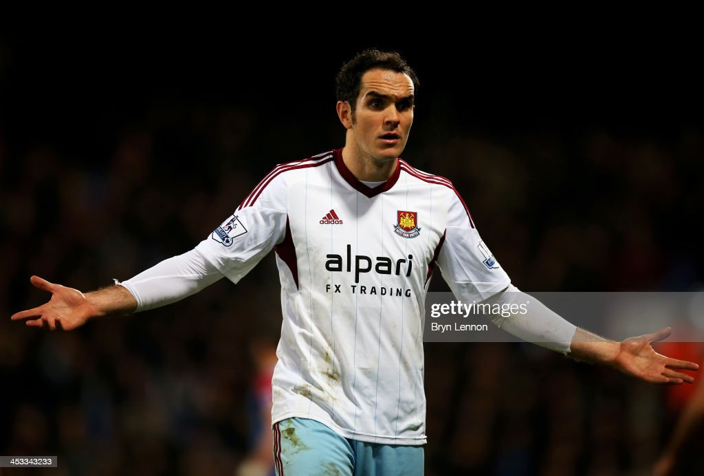 Joey O'Brien of West Ham reacts during the Barclays Premier League match between Crystal Palace and West Ham United at Selhurst Park on December 3, 2013 in London, England.