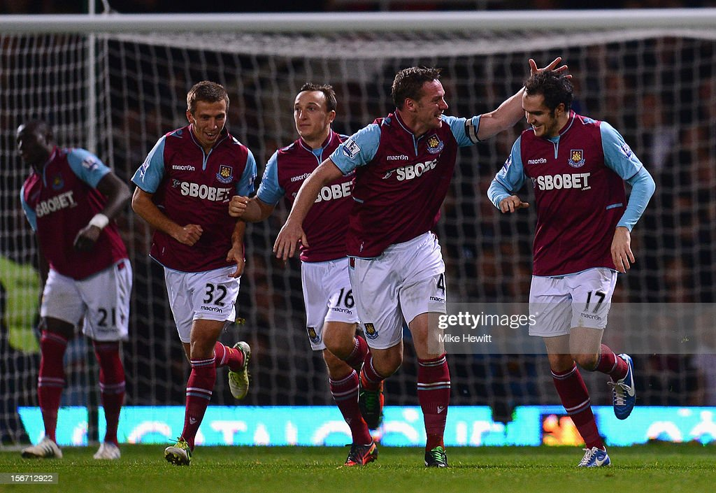 <a gi-track='captionPersonalityLinkClicked' href=/galleries/search?phrase=Joey+O%27Brien&family=editorial&specificpeople=639207 ng-click='$event.stopPropagation()'>Joey O'Brien</a> (R) of West Ham United is congratulated by team mate <a gi-track='captionPersonalityLinkClicked' href=/galleries/search?phrase=Kevin+Nolan&family=editorial&specificpeople=206775 ng-click='$event.stopPropagation()'>Kevin Nolan</a> after scoring during the Barclays Premier League match between West Ham United and Stoke City at the Boleyn Ground on November 19, 2012 in London, England.