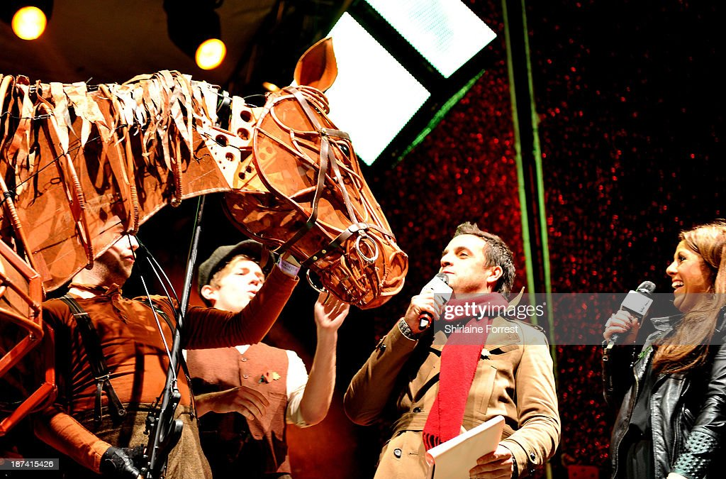 Joey of War Horse onstage at the switch on of the Manchester Christmas lights at Albert Square on November 8, 2013 in Manchester, England.