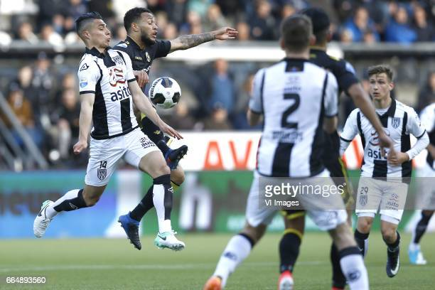 Joey Pelupessy of Heracles Almelo Lewis Baker of Vitesse Arnhemduring the Dutch Eredivisie match between Heracles Almelo and Vitesse Arnhem at Polman...
