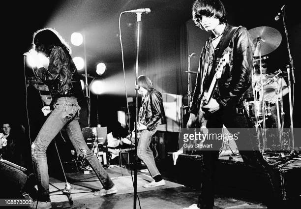 Joey Ramone Johnny Ramone and Dee Dee Ramone performs on stage with The Ramones at The Roundhouse in London on 4th July 1976