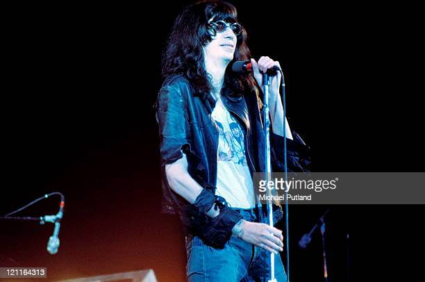 Joey Ramone of The Ramones performs on stage at The Roundhouse London 4th July 1976