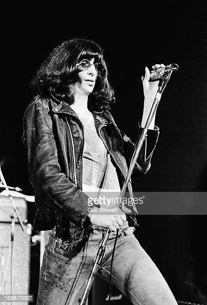 Joey Ramone performs on stage with The Ramones at The Roundhouse in London on 4th July 1976