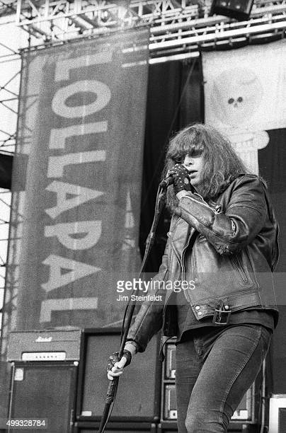 Joey Ramone performs with the Ramones at Lallapalooza at the Irvine Meadows Amphitheater in Irvine California on August 3