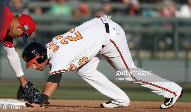 Joey Rickard of the Baltimore Orioles gets back to second base in time as Andres Blanco of the Philadelphia Phillies makes the tag during the first...