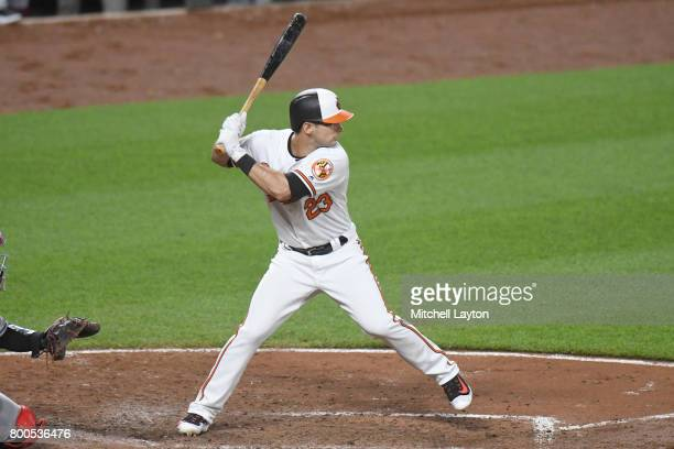 Joey Rickard of the Baltimore Orioles prepares for a pitch during a baseball game against the Cleveland Indians at Oriole park at Camden Yards on...