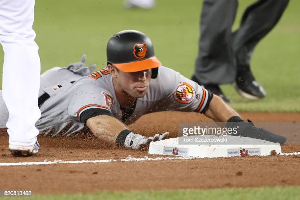 Joey Rickard of the Baltimore Orioles slides safely into third base as he advances on a sacrifice fly RBI by Jonathan Schoop in the third inning...