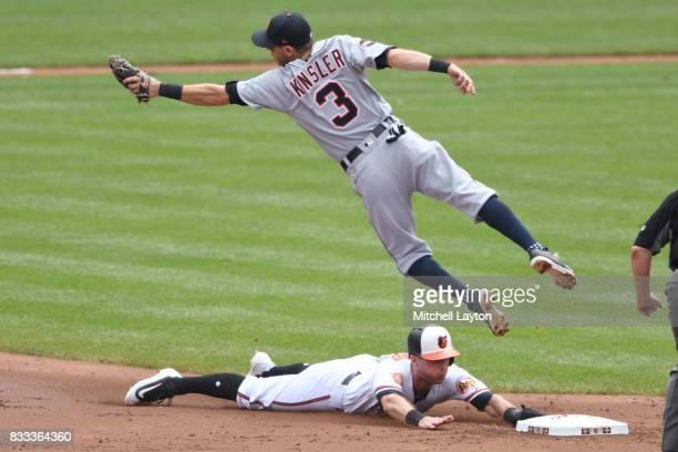 Joey Rickard of the Baltimore Orioles steals second base on Ian Kinsler of the Detroit Tigers during a baseball game at Oriole Park at Camden Yards...