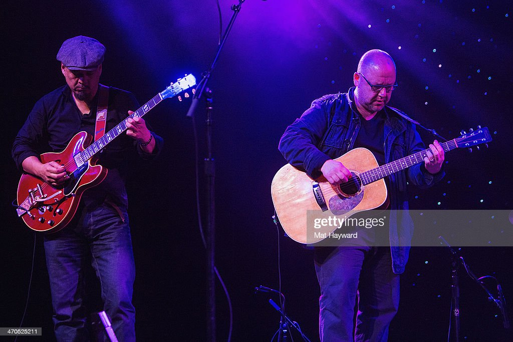 <a gi-track='captionPersonalityLinkClicked' href=/galleries/search?phrase=Joey+Santiago&family=editorial&specificpeople=241220 ng-click='$event.stopPropagation()'>Joey Santiago</a> (L) and Black Francis of the Pixies perform on stage during an EndSession hosted by 107.7 The End at the Triple Door Theater on February 19, 2014 in Seattle, Washington.