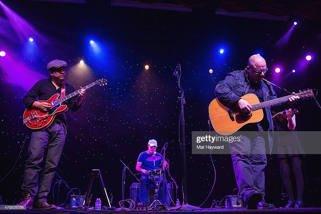 <a gi-track='captionPersonalityLinkClicked' href=/galleries/search?phrase=Joey+Santiago&family=editorial&specificpeople=241220 ng-click='$event.stopPropagation()'>Joey Santiago</a>, David Lovering and Black Francis of the Pixies perform on stage during an EndSession hosted by 107.7 The End at the Triple Door Theater on February 19, 2014 in Seattle, Washington.