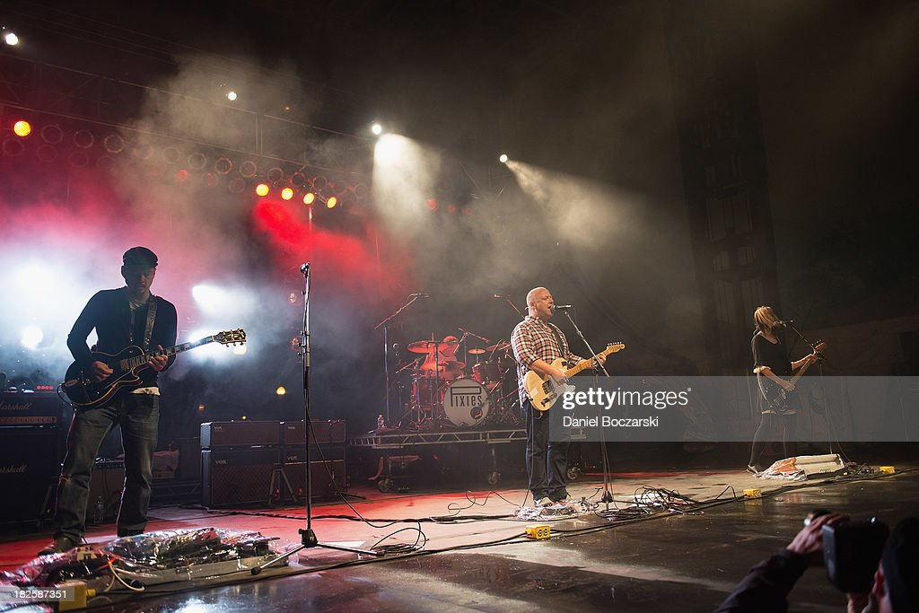 Joey Santiago David Lovering Black Francis and Kim Shattuck of The Pixies perform on stage on Day 3 of Riot Fest and Carnival 2013 at Humboldt Park...