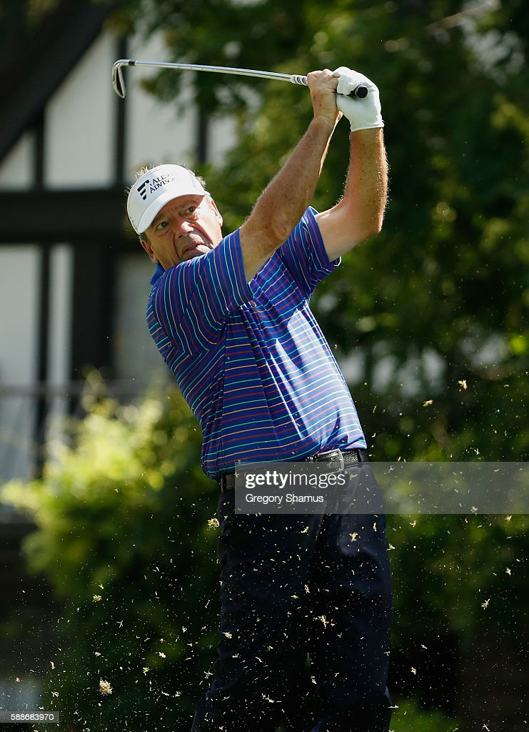Joey Sindelar hits his tee shot on the fourth hole during the second round of the 2016 US Senior Open at Scioto Country Club on August 12 2016 in...