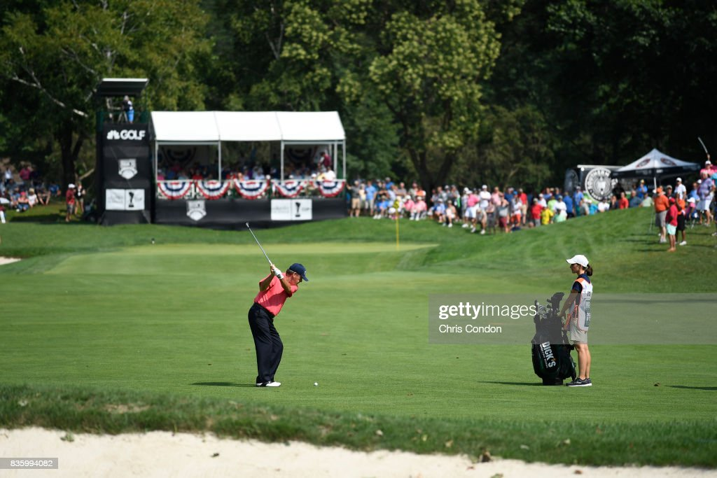 Joey Sindelar hits to the 9th green during the final round of the PGA TOUR Champions DICK'S Sporting Goods Open at En-Joie Golf Course on August 20, 2017 in Endicott, New York.