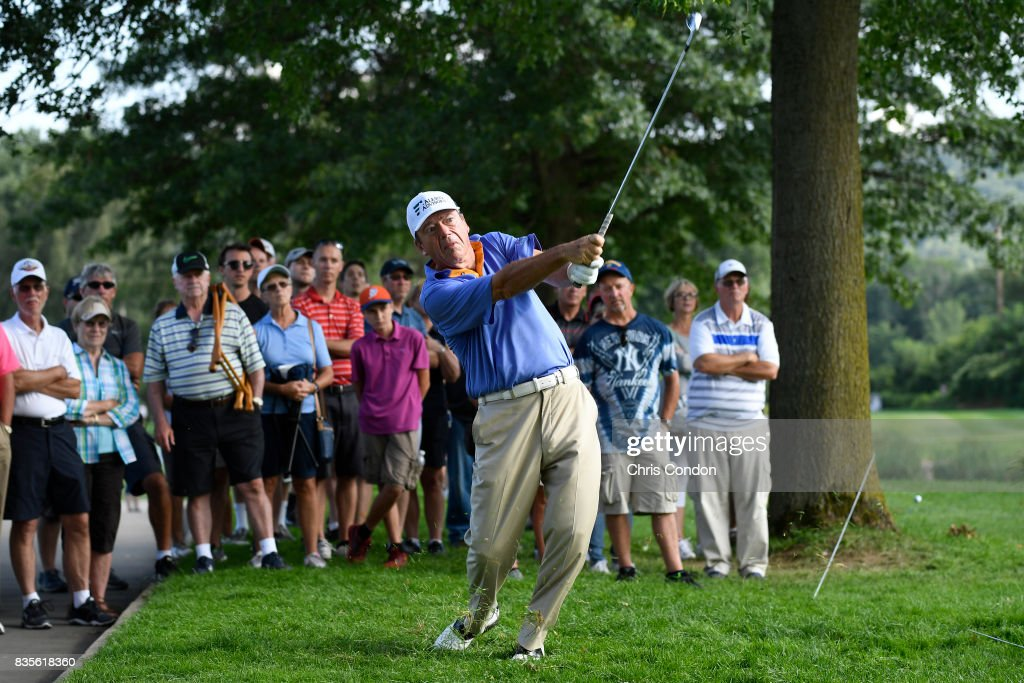 Joey Sindelar plays his second shot on the 15th hole during the second round of the PGA TOUR Champions DICK'S Sporting Goods Open at En-Joie Golf Course on August 19, 2017 in Endicott, New York.