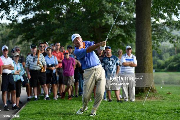 Joey Sindelar plays his second shot on the 15th hole during the second round of the PGA TOUR Champions DICK'S Sporting Goods Open at EnJoie Golf...