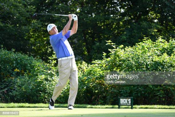 Joey Sindelar tees off on the 15th hole during the second round of the PGA TOUR Champions DICK'S Sporting Goods Open at EnJoie Golf Course on August...