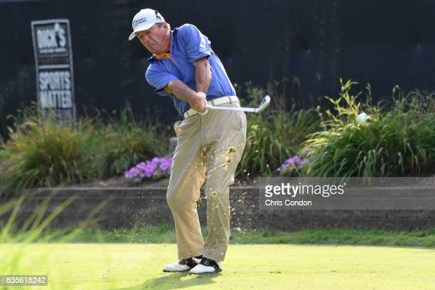 Joey Sindelar tees off on the 17th hole during the second round of the PGA TOUR Champions DICK'S Sporting Goods Open at EnJoie Golf Course on August...