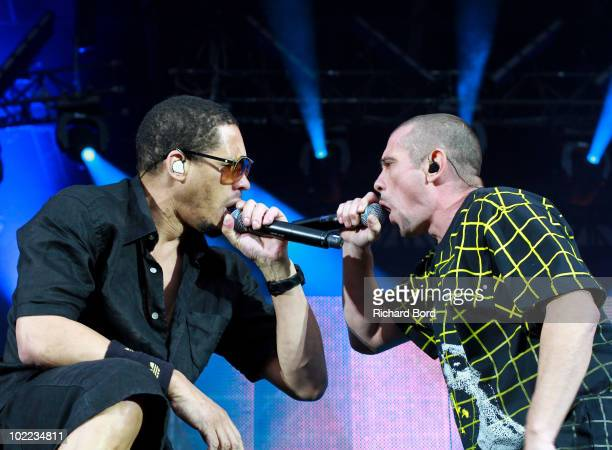 Joey Starr and Kool Shen of French Rap band NTM perform live on stage at Parc des Princes on June 19 2010 in Paris France