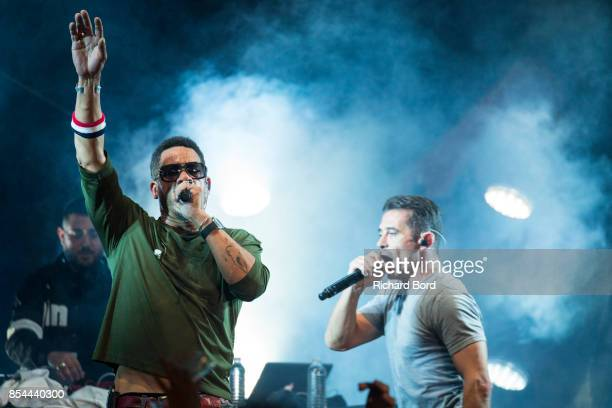 Joey Starr and Kool Shen of NTM perform onstage after the Etam show as part of Paris Fashion Week Womenswear Spring/Summer 2018 on September 26 2017...