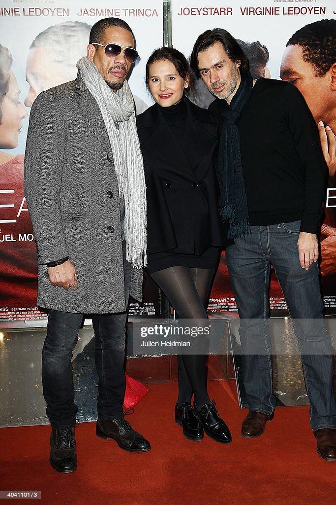 Joey Starr, Virginie Ledoyen and Emmanuel Mouret attend 'Une Autre Vie' Paris Premiere at UGC Cine Cite des Halles on January 20, 2014 in Paris, France.