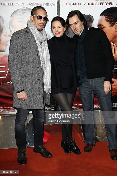 Joey Starr Virginie Ledoyen and Emmanuel Mouret attend 'Une Autre Vie' Paris Premiere at UGC Cine Cite des Halles on January 20 2014 in Paris France