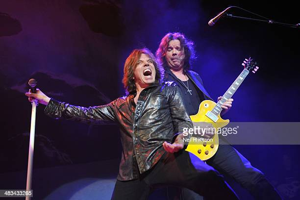 Joey Tempest and John Norum Of Europe performs at Sheffield City Hall on April 8 2014 in Sheffield England