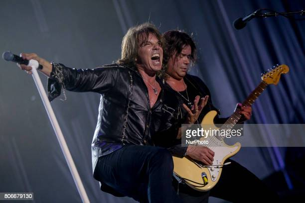 Joey Tempest and John Norum of Swedish rock band Europe during his performance at Rock Fest Barcelona 2017 Festival in Santa Coloma Spain on July 02...