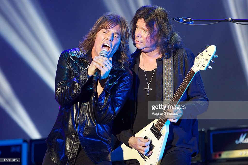 Joey Tempest and John Norum of Swedish rock band Europe perform on stage on Day 3 of Sweden Rock Festival 2013 on June 7, 2013 in Solvesborg, Sweden.