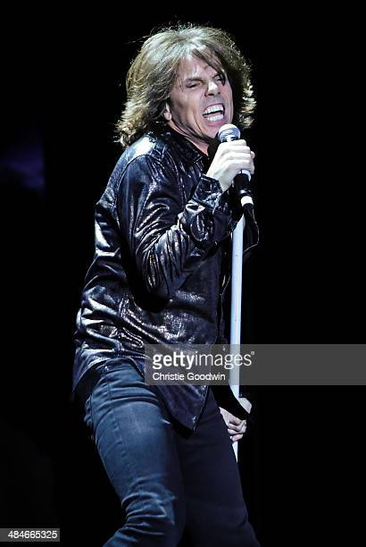 Joey Tempest of Europe performs on stage at Eventim Apollo Hammersmith on April 13 2014 in London United Kingdom