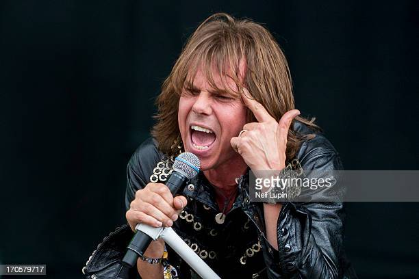 Joey Tempest of Europe performs on stage on Day 1 of Download Festival 2013 at Donnington Park on June 14 2013 in Donnington England