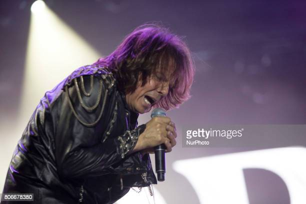 Joey Tempest of Swedish rock band Europe during his performance at Rock Fest Barcelona 2017 Festival in Santa Coloma Spain on July 02 2017