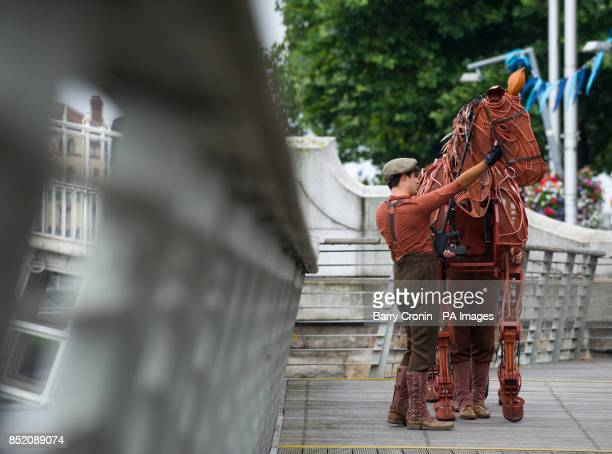 'Joey' the star of the National Theatre UK's production of War Horse on the Ha'penny Bridge in Dublin Ireland ahead of its run at the Bord Gais...
