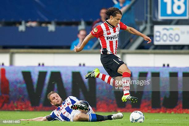 Joey van den Berg of sc Heerenveen Andres Guardado of PSV during the Dutch Eredivisie match between sc Heerenveen and PSV Eindhoven at Abe Lenstra...