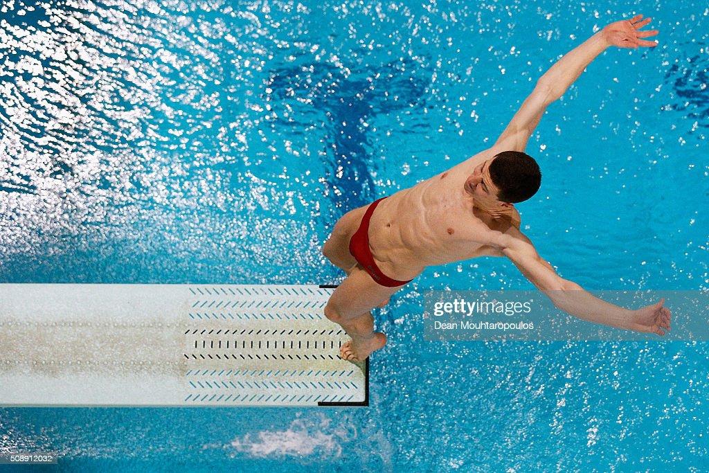 Joey van Etten of the Netherlands competes in the Mens 1m Springboard Final during the Senet Diving Cup held at Pieter van den Hoogenband Swimming Stadium on February 7, 2016 in Eindhoven, Netherlands.
