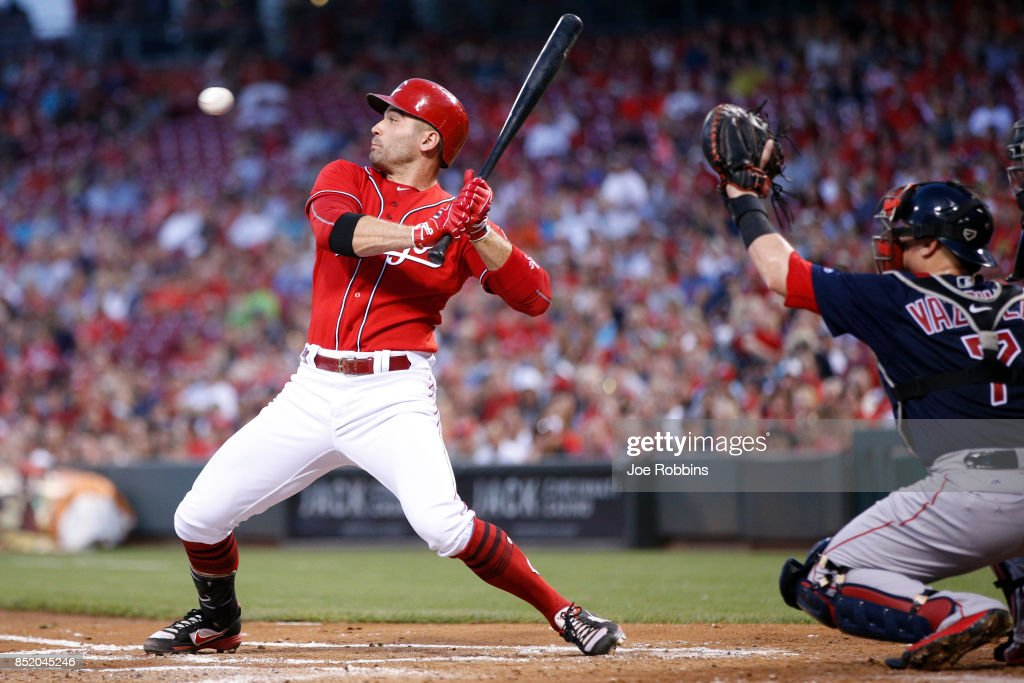 Joey Votto #19 of the Cincinnati Reds backs away from an inside pitch in the first inning of a game against the Boston Red Sox at Great American Ball Park on September 22, 2017 in Cincinnati, Ohio. The Red Sox defeated the Reds 5-4.