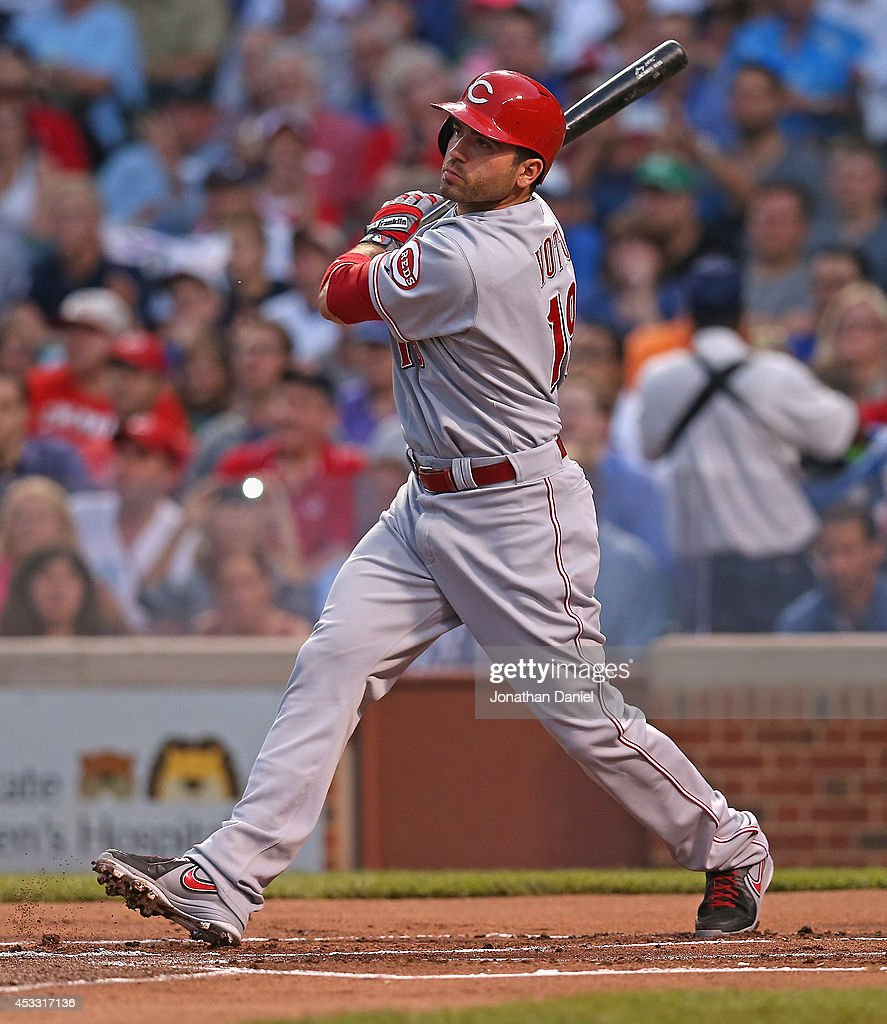 Joey Votto of the Cincinnati Reds bats against the Chicago Cubs at Wrigley Field on June 24 2014 in Chicago Illinois The Cubs defeated the Reds 73