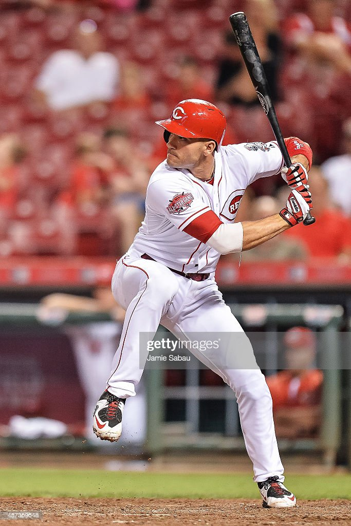Joey Votto of the Cincinnati Reds bats against the Milwaukee Brewers at Great American Ball Park on September 5 2015 in Cincinnati Ohio