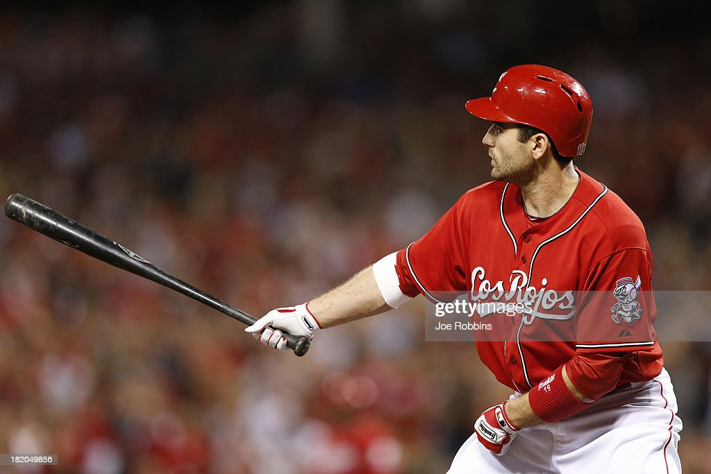 <a gi-track='captionPersonalityLinkClicked' href=/galleries/search?phrase=Joey+Votto&family=editorial&specificpeople=759319 ng-click='$event.stopPropagation()'>Joey Votto</a> #19 of the Cincinnati Reds bats against the Pittsburgh Pirates during the game at Great American Ball Park on September 27, 2013 in Cincinnati, Ohio. The Pirates won 4-1.