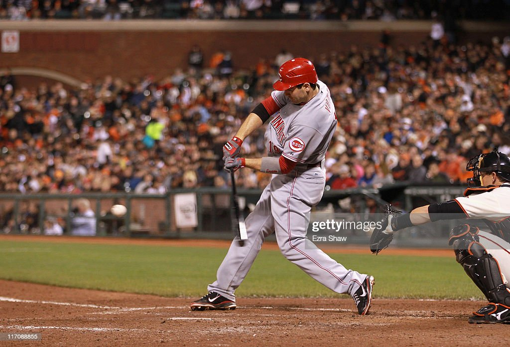 <a gi-track='captionPersonalityLinkClicked' href=/galleries/search?phrase=Joey+Votto&family=editorial&specificpeople=759319 ng-click='$event.stopPropagation()'>Joey Votto</a> #19 of the Cincinnati Reds bats against the San Francisco Giants at AT&T Park on June 9, 2011 in San Francisco, California.