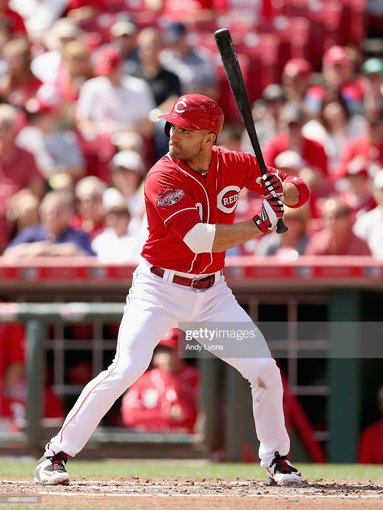 Joey Votto of the Cincinnati Reds bats during the game against the St Louis Cardinals at Great American Ball Park on September 13 2015 in Cincinnati...