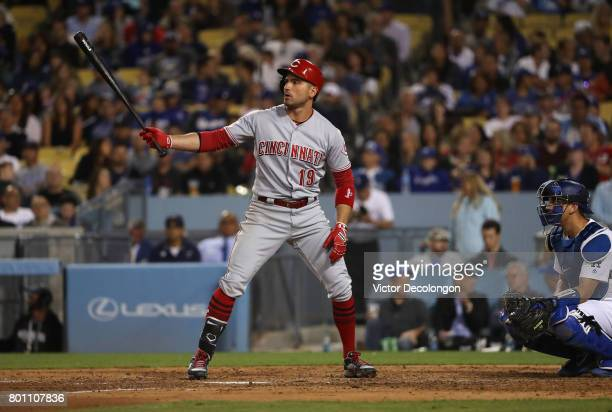 Joey Votto of the Cincinnati Reds bats in the sixth inning during the MLB game at Dodger Stadium on June 9 2017 in Los Angeles California The Dodgers...