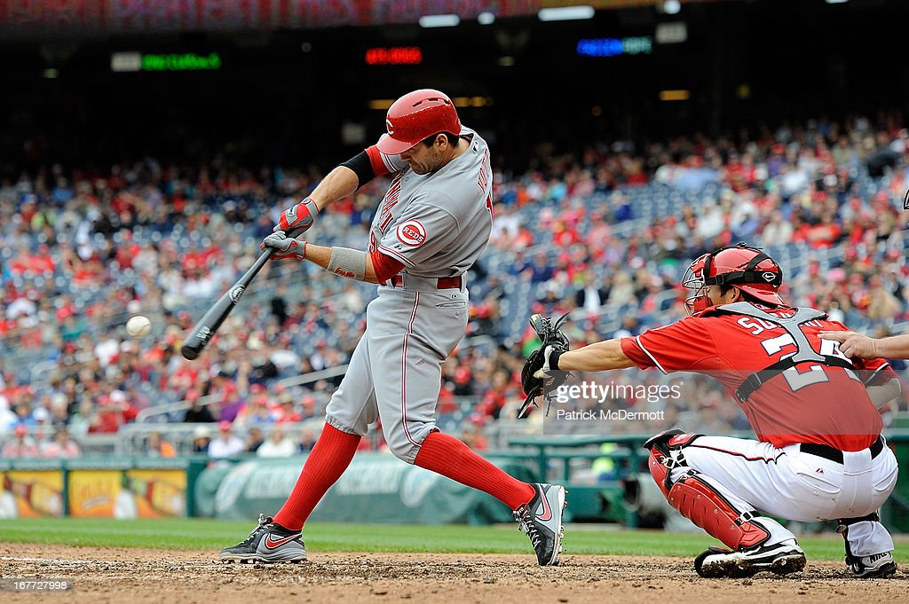 <a gi-track='captionPersonalityLinkClicked' href=/galleries/search?phrase=Joey+Votto&family=editorial&specificpeople=759319 ng-click='$event.stopPropagation()'>Joey Votto</a> #19 of the Cincinnati Reds hits a line ball out to second in the eighth inning of a game against the Washington Nationals at Nationals Park on April 28, 2013 in Washington, DC.