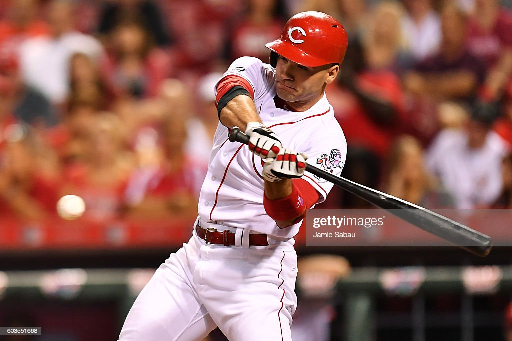 Joey Votto #19 of the Cincinnati Reds hits a single in the eighth inning against the Milwaukee Brewers at Great American Ball Park on September 12, 2016 in Cincinnati, Ohio. Cincinnati defeated Milwaukee 3-0.